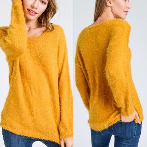 Sweaters - Love Mustard Long Sleeves Fuzzy Texture Sweater